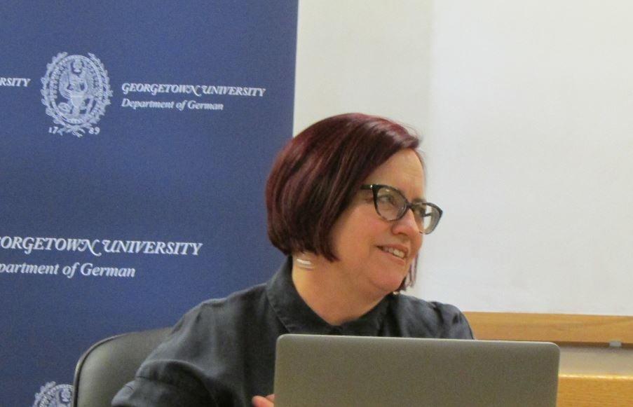 Dr. Hester Baer during her presentation on Toni Erdmann on 3/13/18