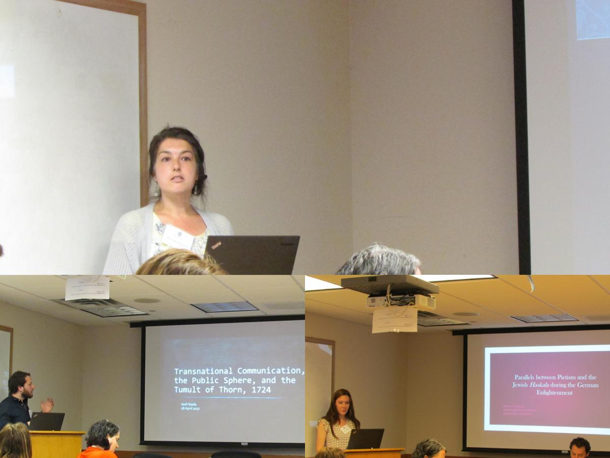 Three graduate students presenting lectures during the Private Lives/Public Virtues symposium