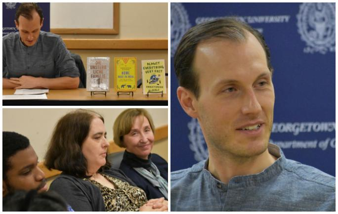 Max Kade Writer-in-Residence Christopher Kloeble and department faculty and students during a reading on February 23, 2018