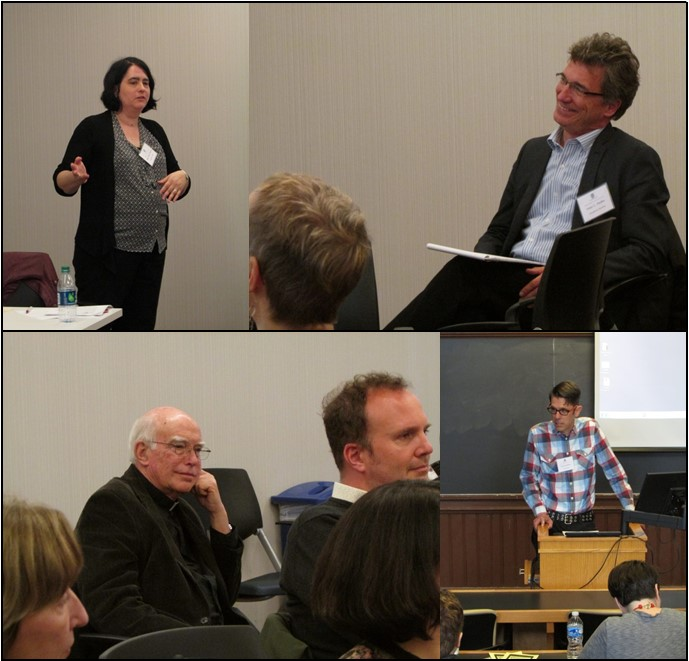clockwise from upper left: Prof. Mary Helen Dupree, Prof. Peter C. Pfeiffer, Cyrus Shahan, Prof. Ron Murphy, S.J.
