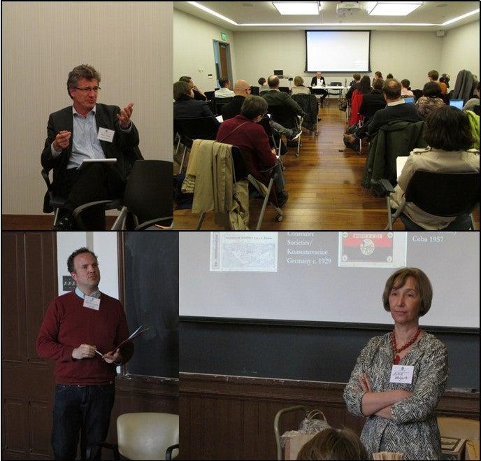 clockwise from  upper left: Prof. Peter C. Pfeiffer; Conference Day One; Prof. Astrid Weigert; Dr. Martin Jörg Schäfer
