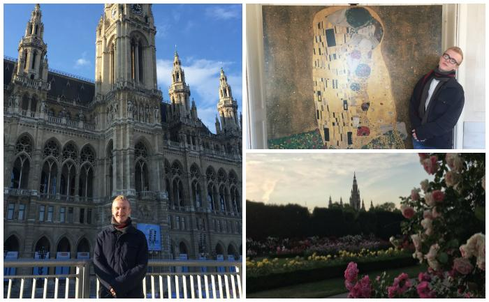 Evan Thomson at various spots in Vienna during his time studying abroad at the Universität Wien.