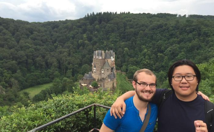 Devin Slaugenhaupt and Andrew Lee at Burg Eltz -- Trier Summer Program, 2016